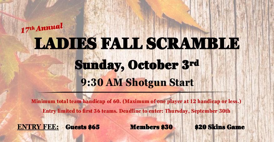 Ladies Fall Scramble – Sunday, October 3rd